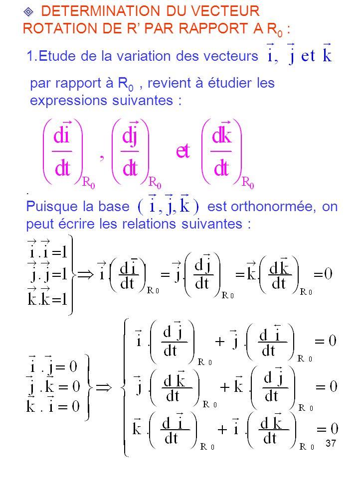 37 DETERMINATION DU VECTEUR ROTATION DE R PAR RAPPORT A R 0 : 1.Etude de la variation des vecteurs par rapport à R 0, revient à étudier les expressions suivantes :.