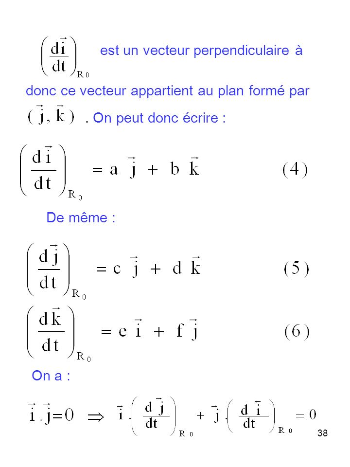 38 est un vecteur perpendiculaire à donc ce vecteur appartient au plan formé par. On peut donc écrire : De même : On a :