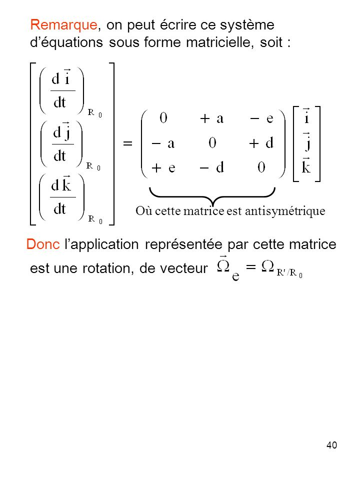 40 Donc lapplication représentée par cette matrice est une rotation, de vecteur Où cette matrice est antisymétrique Remarque, on peut écrire ce systèm