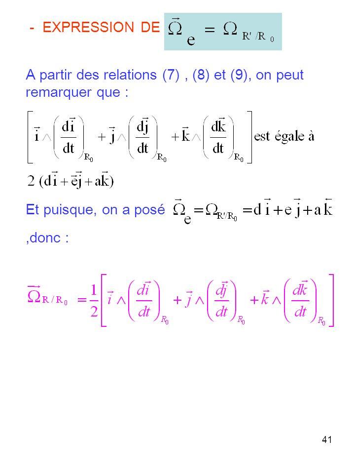 41 - EXPRESSION DE A partir des relations (7), (8) et (9), on peut remarquer que : Et puisque, on a posé,donc :