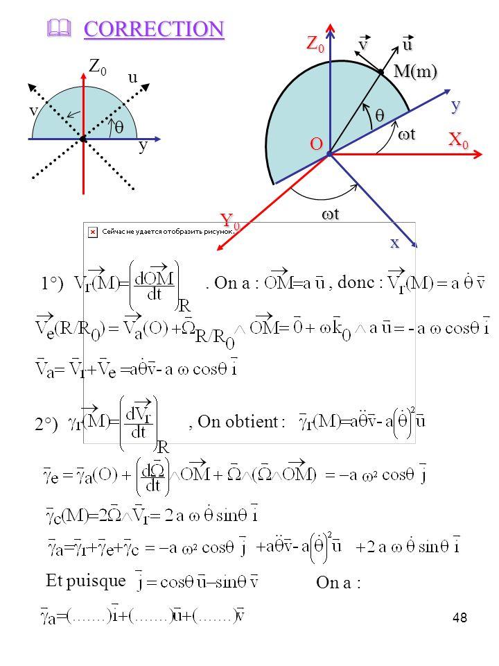 48 X0X0X0X0 Y0Y0Y0Y0 Z0Z0Z0Z0 x y t M(m) O uv 1°) 2°) y Z0Z0 u v CORRECTION CORRECTION Et puisque On a :. On a :, donc :, On obtient : t