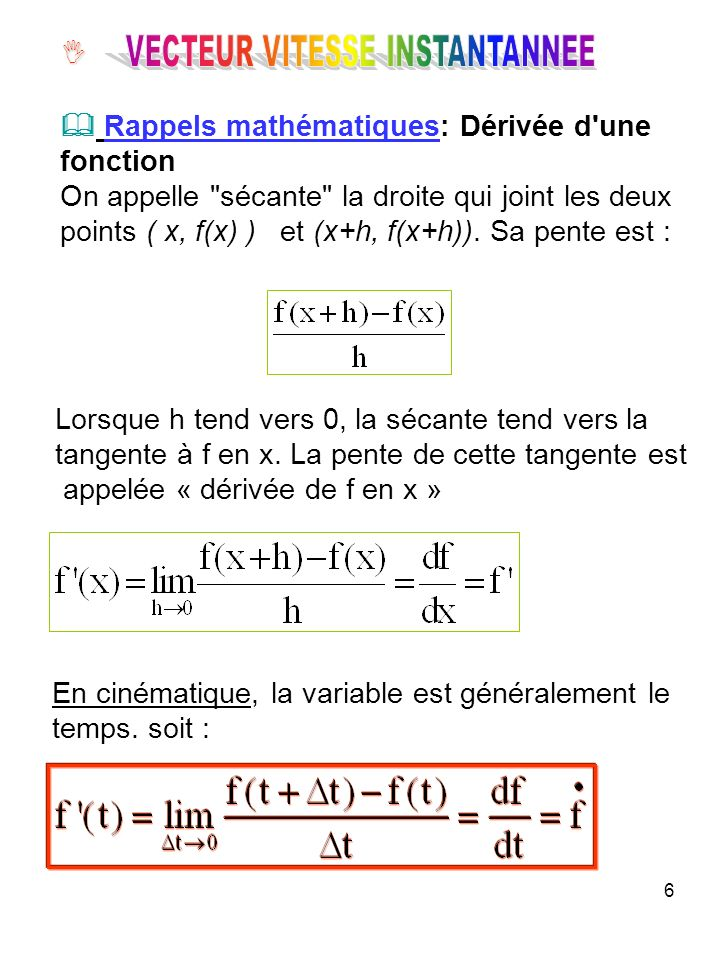 7 Pour obtenir la vitesse à l instant t, on fait tendre Δt vers zéro dans l expression de la vitesse moyenne sur l intervalle [t, t+Δt].