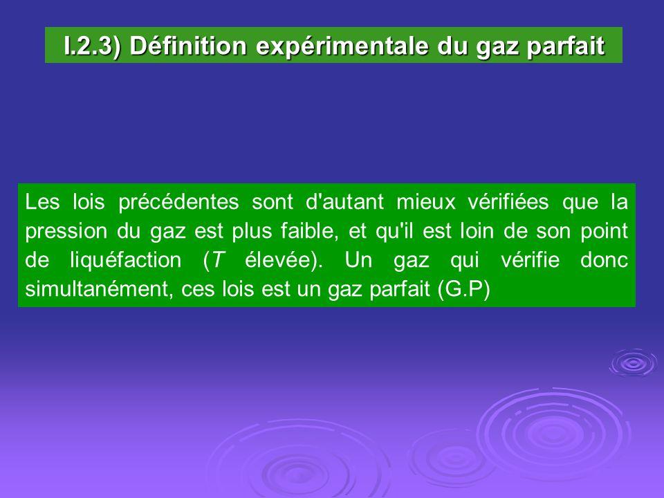 I.2.3) Définition expérimentale du gaz parfait Les lois précédentes sont d'autant mieux vérifiées que la pression du gaz est plus faible, et qu'il est