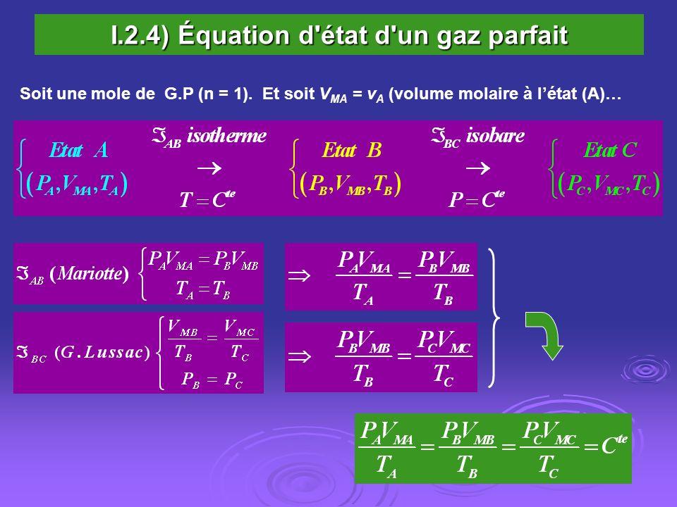 I.2.4) Équation d'état d'un gaz parfait Soit une mole de G.P (n = 1). Et soit V MA = v A (volume molaire à létat (A)…