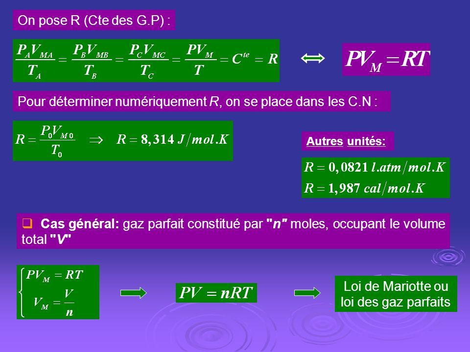 On pose R (Cte des G.P) : Pour déterminer numériquement R, on se place dans les C.N : Autres unités: Cas général: gaz parfait constitué par