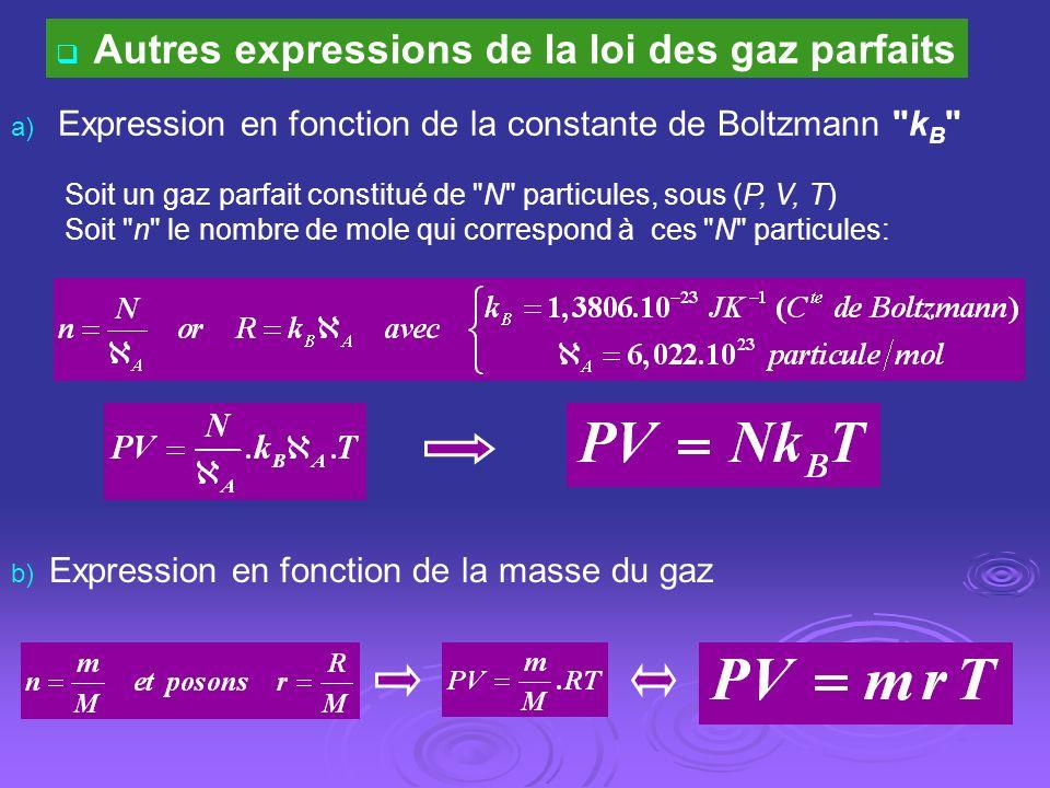 Autres expressions de la loi des gaz parfaits a) Expression en fonction de la constante de Boltzmann