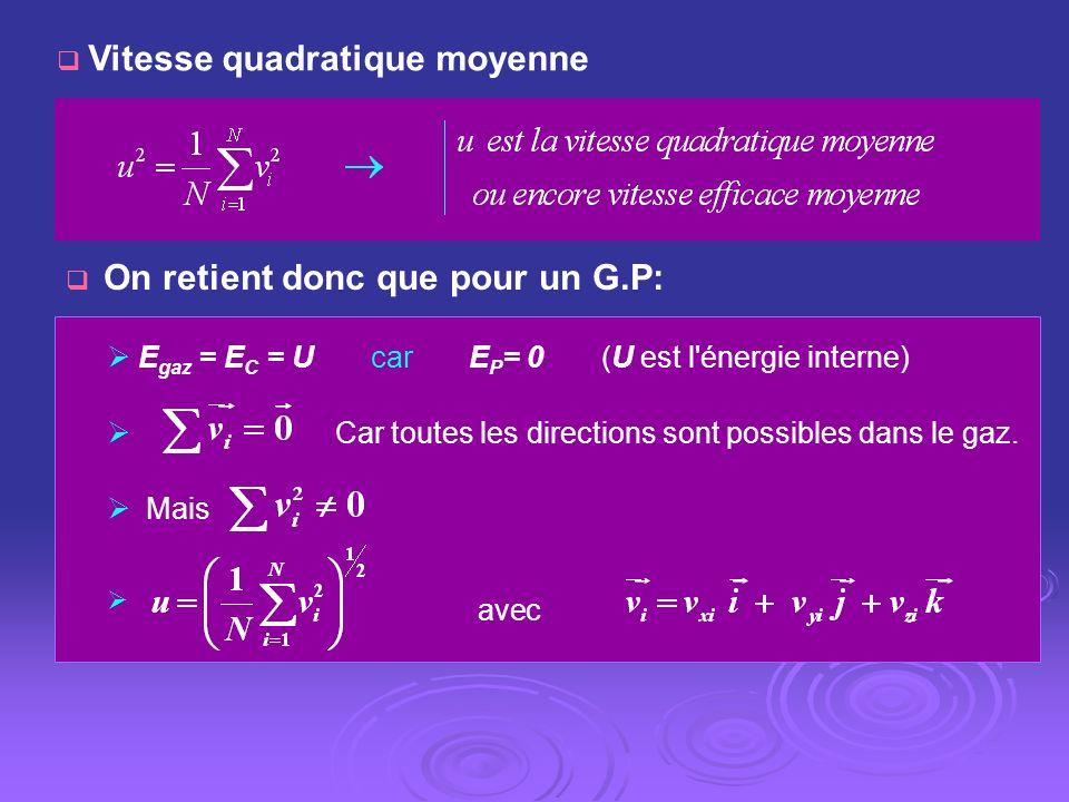 On retient donc que pour un G.P: E gaz = E C = U car E P = 0 (U est l'énergie interne) Car toutes les directions sont possibles dans le gaz. Mais avec