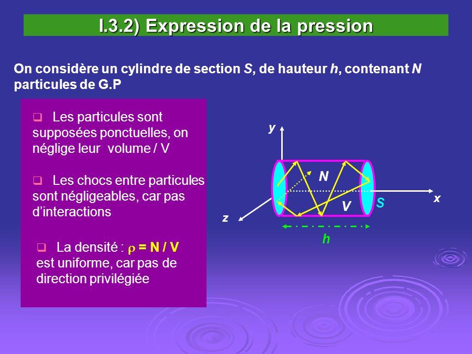 I.3.2) Expression de la pression On considère un cylindre de section S, de hauteur h, contenant N particules de G.P Les chocs entre particules sont né