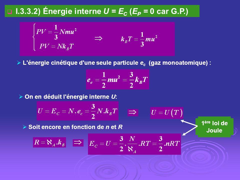 L'énergie cinétique d'une seule particule e c (gaz monoatomique) : I.3.3.2) Énergie interne U = E C (E P = 0 car G.P.) On en déduit l'énergie interne