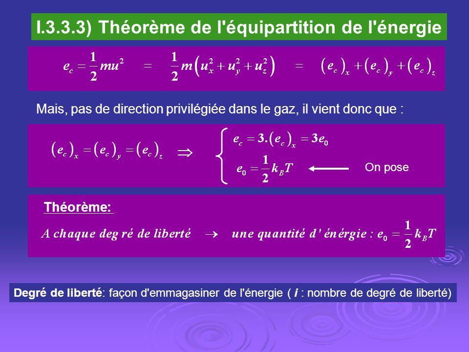I.3.3.3) Théorème de l'équipartition de l'énergie Mais, pas de direction privilégiée dans le gaz, il vient donc que : On pose Théorème: Degré de liber