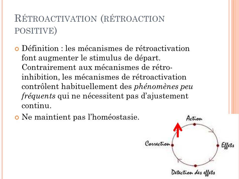 R ÉTROACTIVATION ( RÉTROACTION POSITIVE ) Définition : les mécanismes de rétroactivation font augmenter le stimulus de départ. Contrairement aux mécan