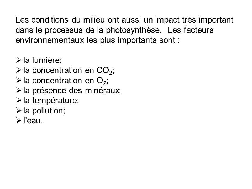Les conditions du milieu ont aussi un impact très important dans le processus de la photosynthèse. Les facteurs environnementaux les plus importants s