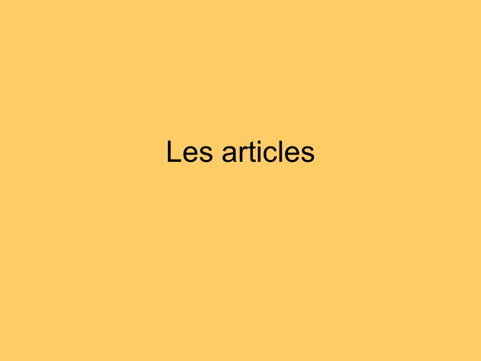 Les articles