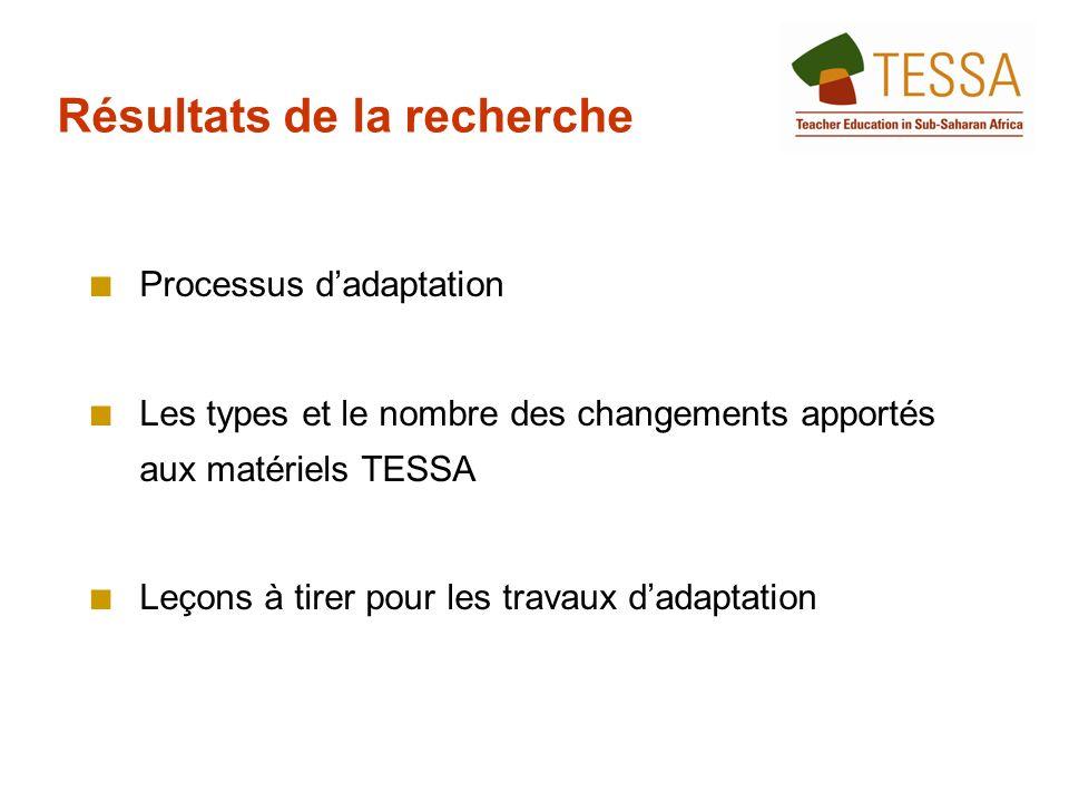 Processus dadaptation Les types et le nombre des changements apportés aux matériels TESSA Leçons à tirer pour les travaux dadaptation Résultats de la