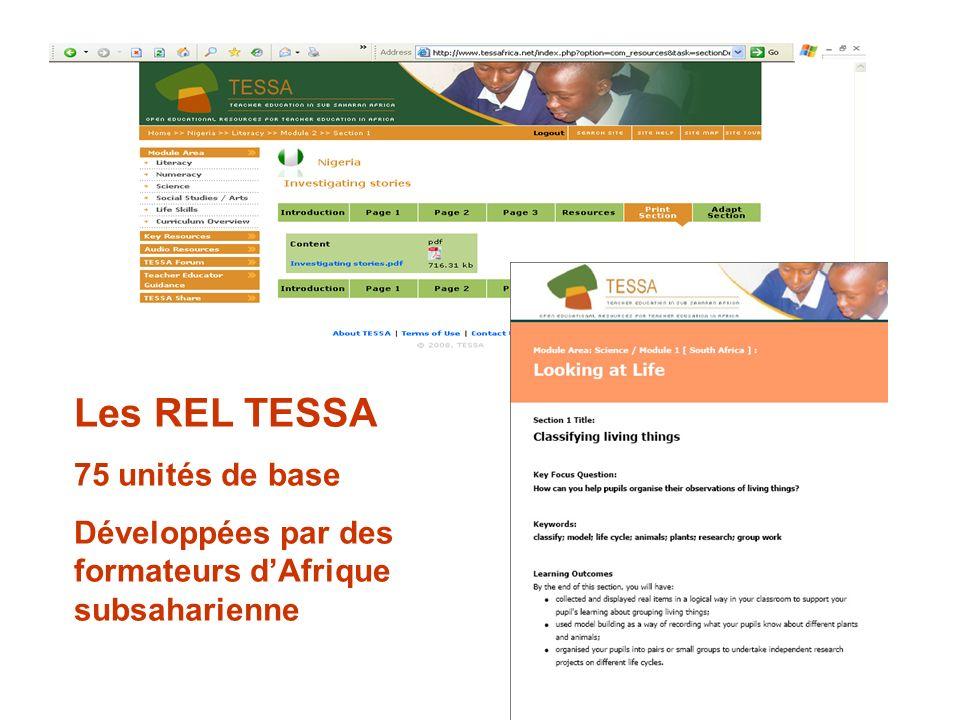 Les REL TESSA 75 unités de base Développées par des formateurs dAfrique subsaharienne