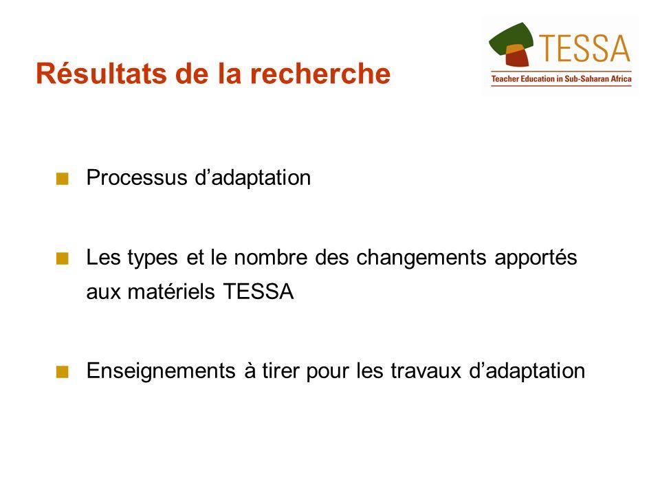 Processus dadaptation Les types et le nombre des changements apportés aux matériels TESSA Enseignements à tirer pour les travaux dadaptation Résultats