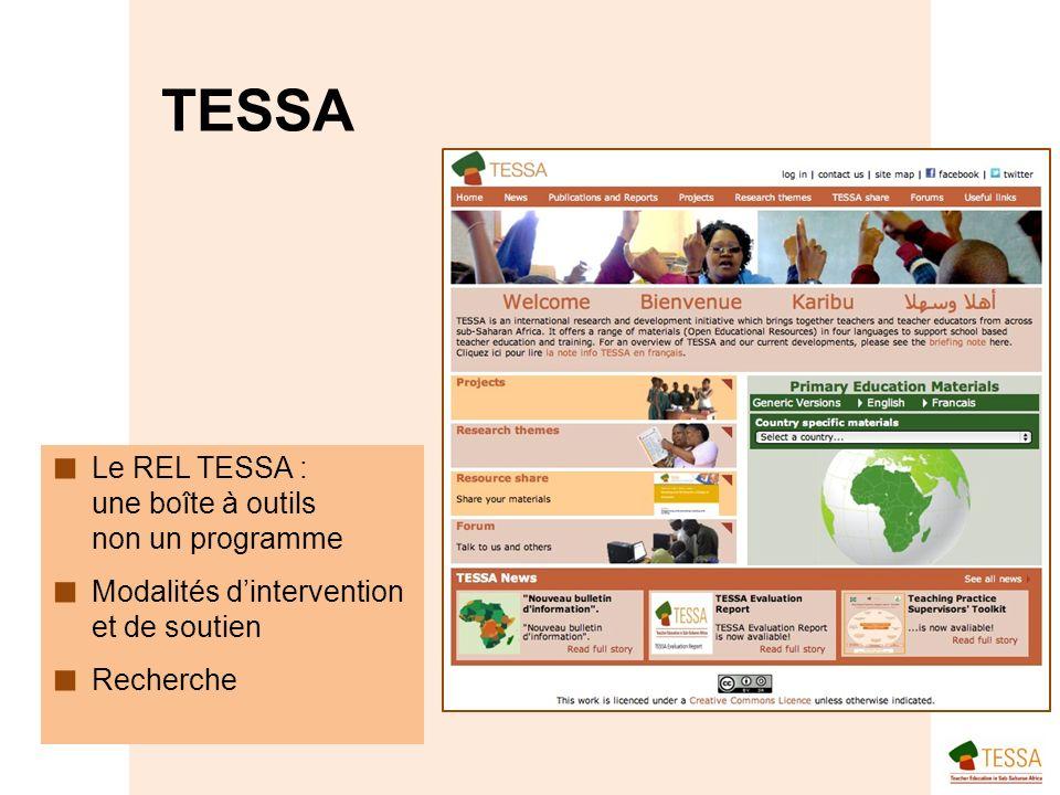 Le REL TESSA : une boîte à outils non un programme Modalités dintervention et de soutien Recherche TESSA