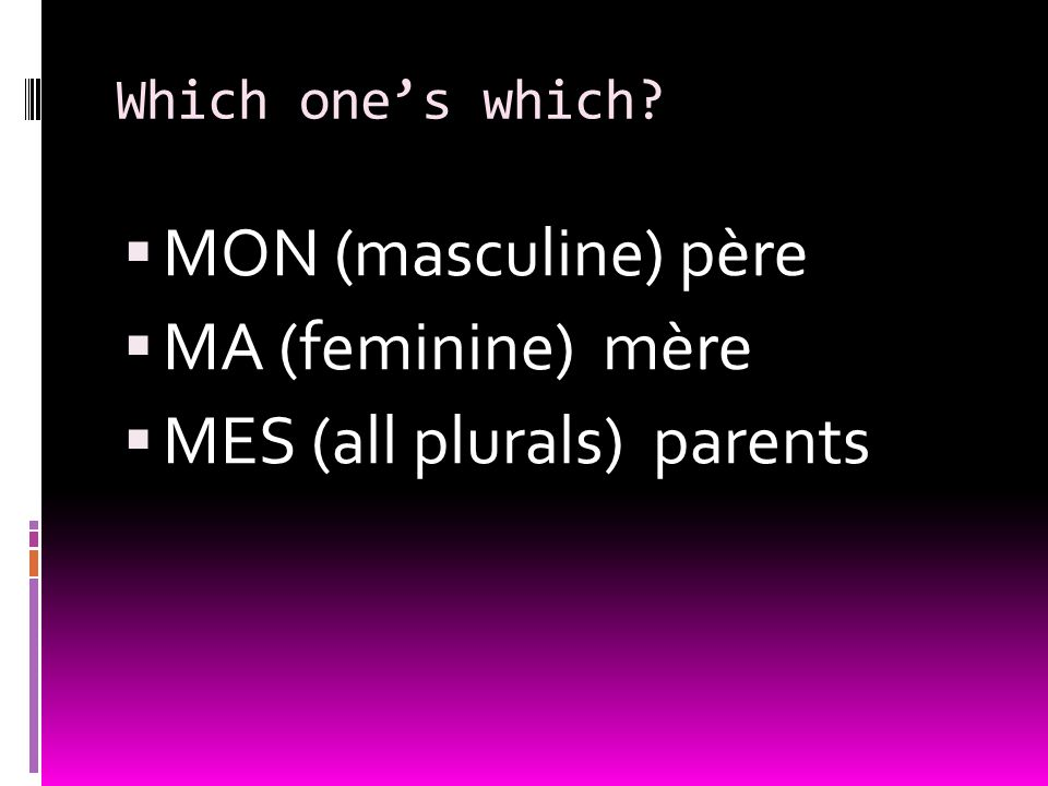 Which ones which? MON (masculine) p ère MA (feminine) m ère MES (all plurals) parents