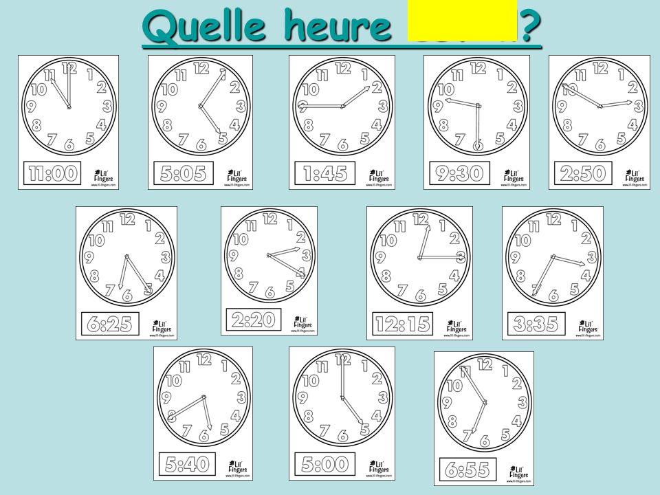 1.35 1.40 1.45 1.50 1.55 2.00 Quelle heure est-il? Il est deux heures moins vingt-cinq
