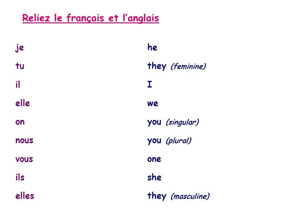 Reliez le français et langlais jehe tuthey (feminine) ilI ellewe onyou (singular) nousyou (plural) vousone ilsshe ellesthey (masculine)