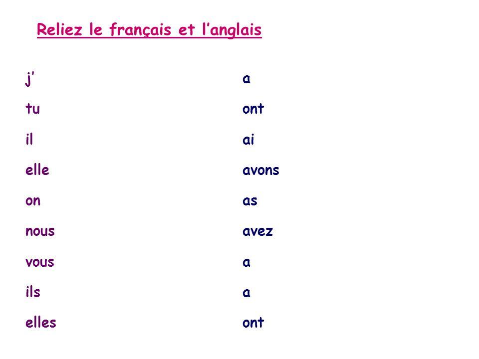 Reliez le français et langlais ja tuont ilai elleavons onas nousavez vousa ilsa ellesont