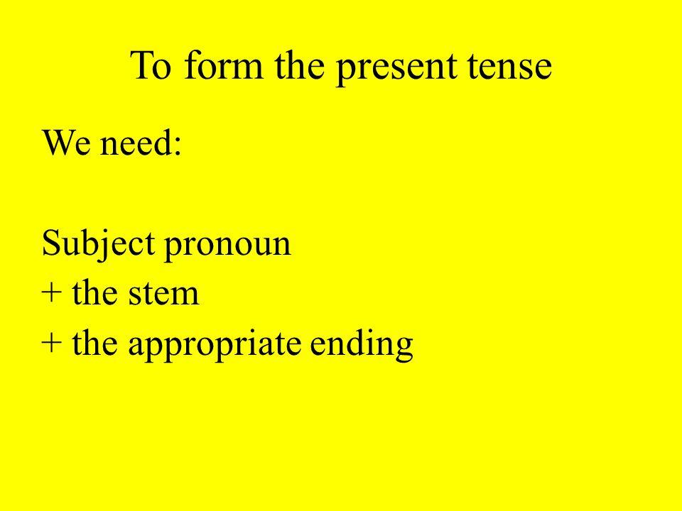 Pronouns je = I tu = you il = he/it elle = she/it on = one nous = we vous = you ils = they elles = they