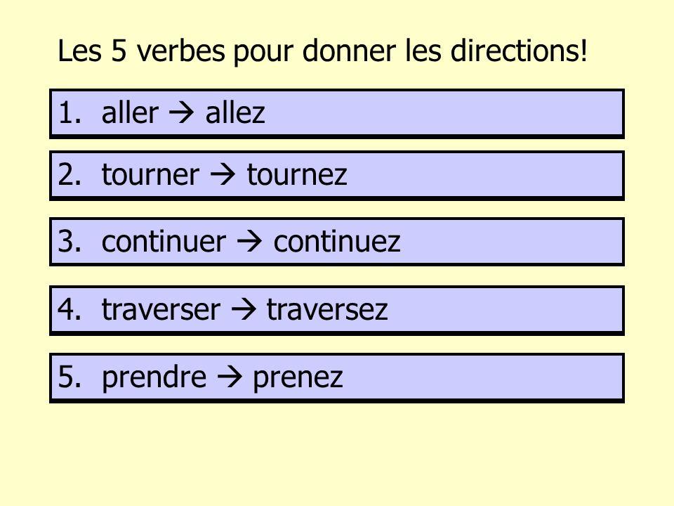 Les 5 verbes pour donner les directions! 1. a……………… 2. t……………… 3. c……………… 4. t……………………. 5. p………… 1. aller allez 2. tourner tournez 3. continuer contin