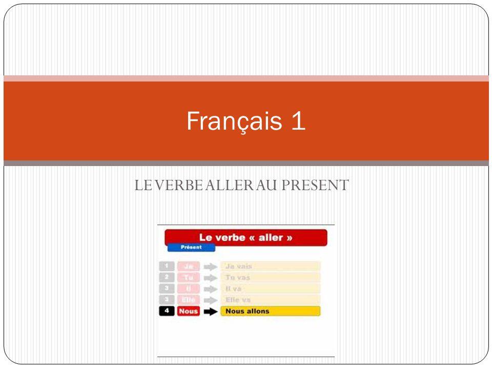 LE VERBE ALLER AU PRESENT Français 1