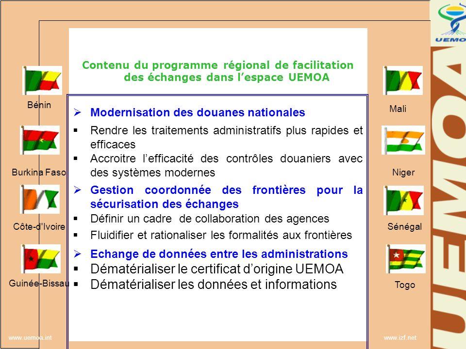 www.uemoa.int www.izf.net Contenu du programme régional de facilitation des échanges dans lespace UEMOA Modernisation des douanes nationales Rendre le