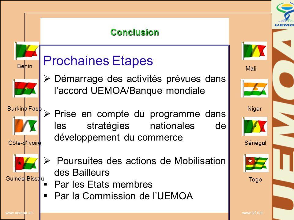www.uemoa.int www.izf.net Conclusion Prochaines Etapes Démarrage des activités prévues dans laccord UEMOA/Banque mondiale Prise en compte du programme
