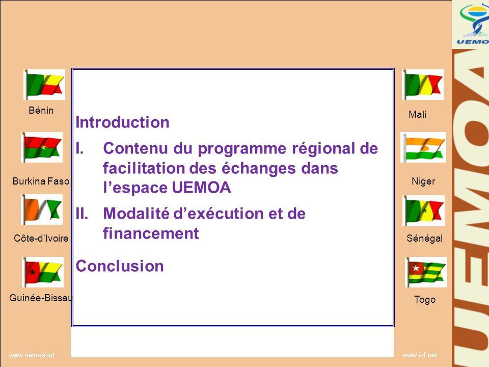 www.uemoa.int www.izf.net Introduction: Les EM de lUEMOA et les négociations sur la facilitation des échanges à lOMC: Accroitre lefficacité de la participation des EM à lOMC Renforcer leur capacité pour la mise en œuvre du texte de laccord OMC Plusieurs initiatives communautaires pour la réalisation du marché commun Mais …..persistance des entraves Bénin Burkina Faso Côte-d Ivoire Guinée-Bissau Mali Niger Sénégal Togo