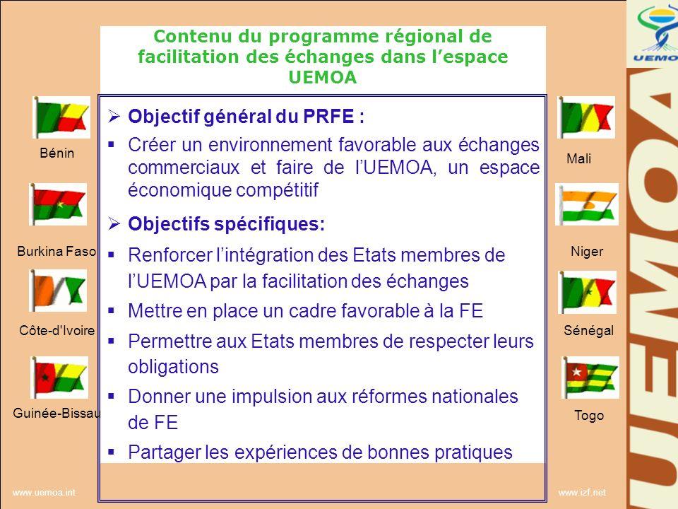 www.uemoa.int www.izf.net Contenu du programme régional de facilitation des échanges dans lespace UEMOA Résultats attendus: Renforcement des capacités en matière de facilitation Renforcement des instruments de lunion douanière Promotion de la transparence et de la prévisibilité des échanges Harmonisation et sécurisation des Contrôles Modernisation des traitements et opérations en matière douanière et commerciale Développement de la coopération administrative Bénin Burkina Faso Côte-d Ivoire Guinée-Bissau Mali Niger Sénégal Togo