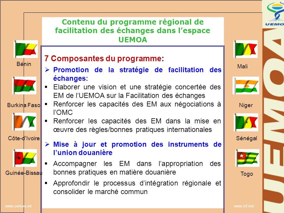 www.uemoa.int www.izf.net Contenu du programme régional de facilitation des échanges dans lespace UEMOA 7 Composantes du programme: Promotion de la st