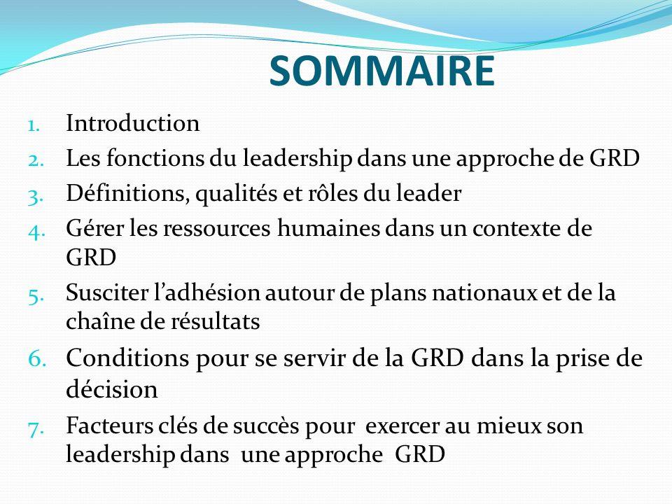 SOMMAIRE 1. Introduction 2. Les fonctions du leadership dans une approche de GRD 3. Définitions, qualités et rôles du leader 4. Gérer les ressources h