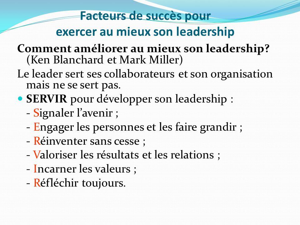 Facteurs de succès pour exercer au mieux son leadership Comment améliorer au mieux son leadership? (Ken Blanchard et Mark Miller) Le leader sert ses c
