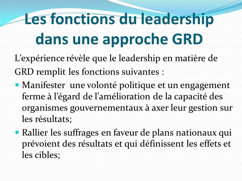 Les fonctions du leadership dans une approche GRD Montrer par le geste et la parole, que les données sur les résultats orientent les priorités stratégiques et budgétaires et quelles servent à apprendre à améliorer la performance; Mobiliser les ressources humaines et financières nécessaires pour réaliser les activités qui entrainent les résultats ;