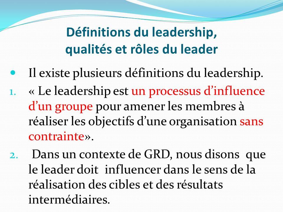 Définitions du leadership, qualités et rôles du leader Il existe plusieurs définitions du leadership. 1. « Le leadership est un processus dinfluence d