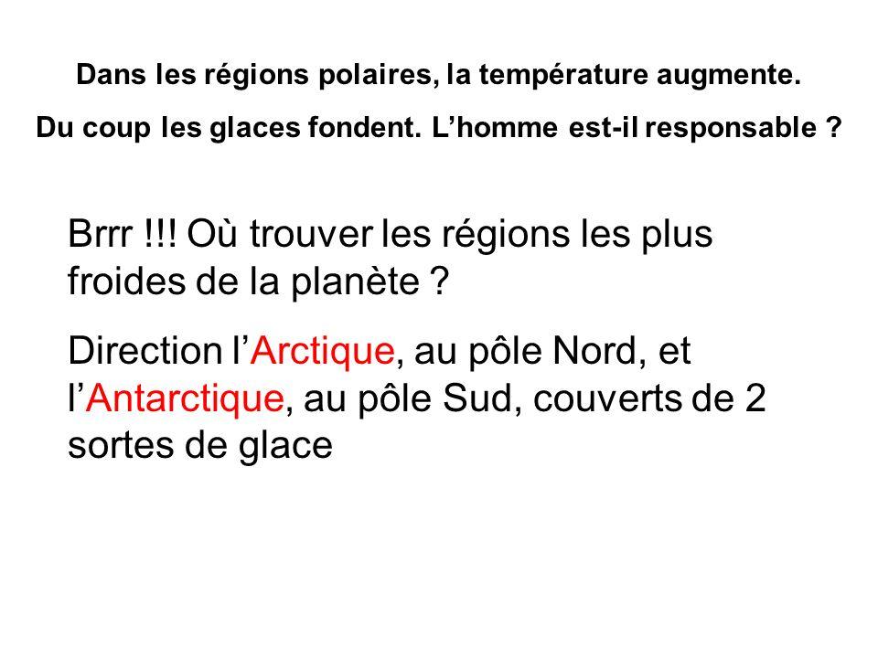Dans les régions polaires, la température augmente. Du coup les glaces fondent. Lhomme est-il responsable ? Brrr !!! Où trouver les régions les plus f