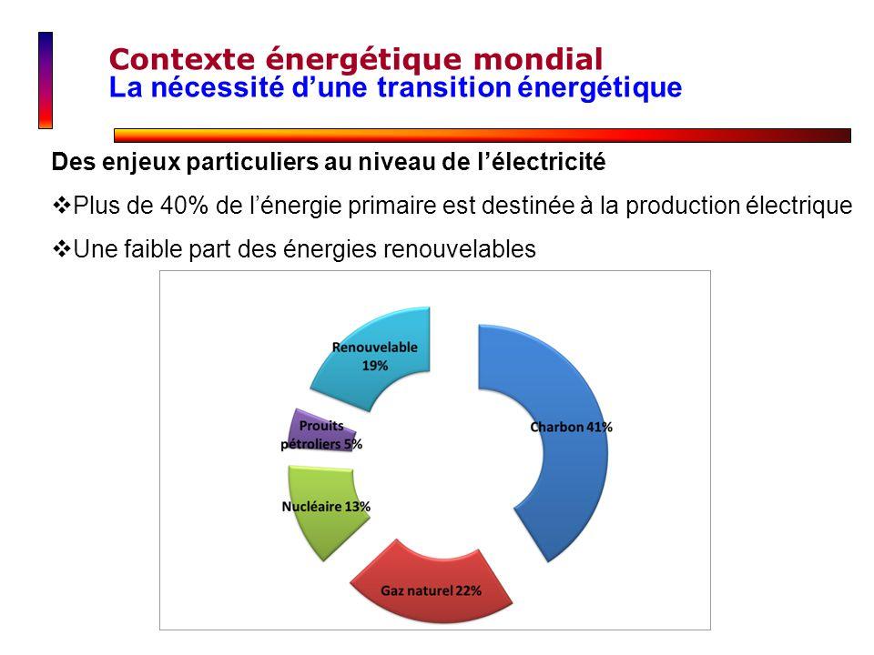 Des enjeux particuliers au niveau de lélectricité Plus de 40% de lénergie primaire est destinée à la production électrique Une faible part des énergie