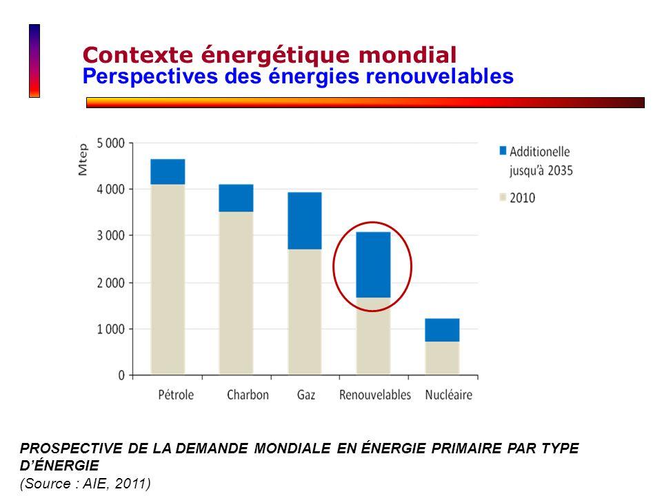 PROSPECTIVE DE LA DEMANDE MONDIALE EN ÉNERGIE PRIMAIRE PAR TYPE DÉNERGIE (Source : AIE, 2011) Contexte énergétique mondial Perspectives des énergies r
