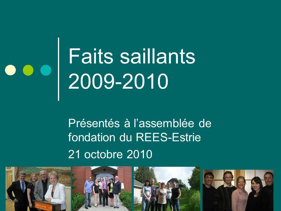Faits saillants 2009-2010 Présentés à lassemblée de fondation du REES-Estrie 21 octobre 2010