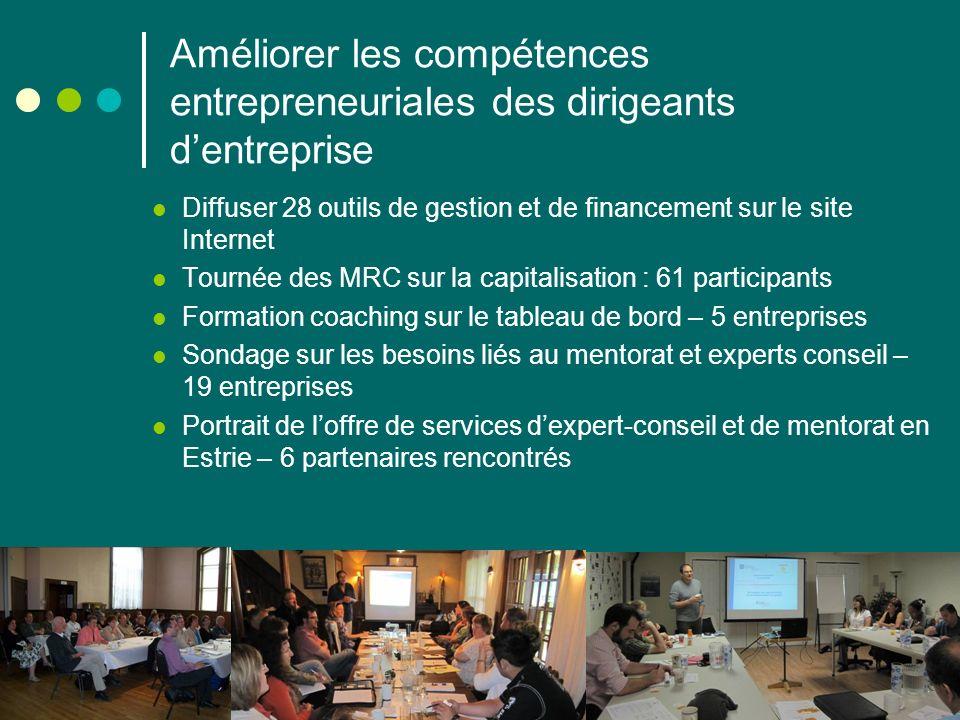 Augmenter les partenariats daffaires Création dune plateforme de réseau social regroupant 130 participants Structuration du Réseau et incorporation : 48 membres Organisation dun événement annuel