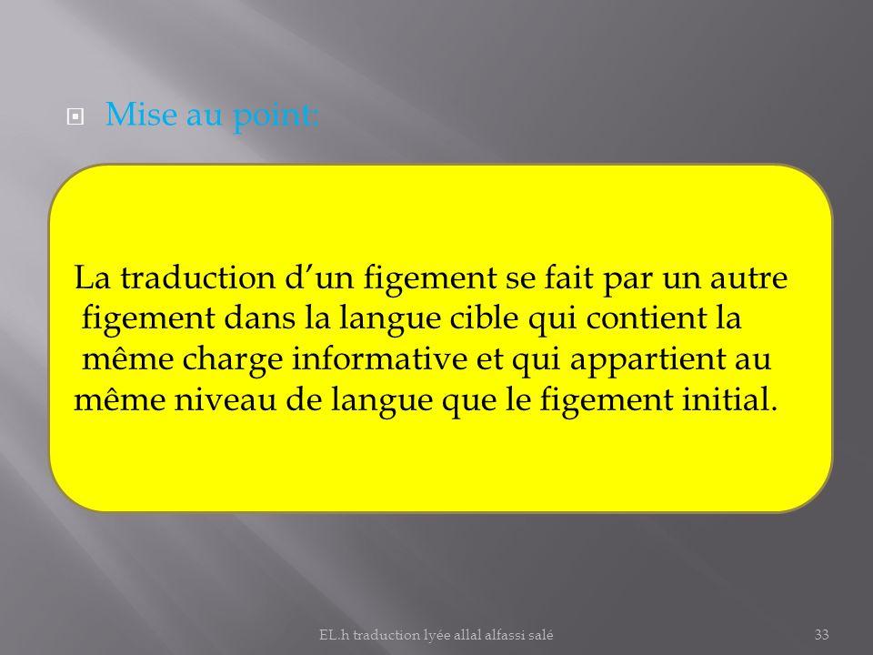 Mise au point: La traduction dun figement se fait par un autre figement dans la langue cible qui contient la même charge informative et qui appartient