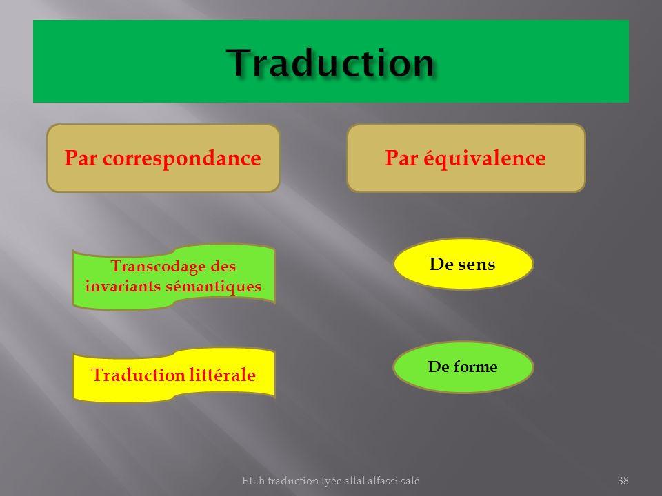 Par correspondancePar équivalence Transcodage des invariants sémantiques Traduction littérale De sens De forme 38EL.h traduction lyée allal alfassi sa