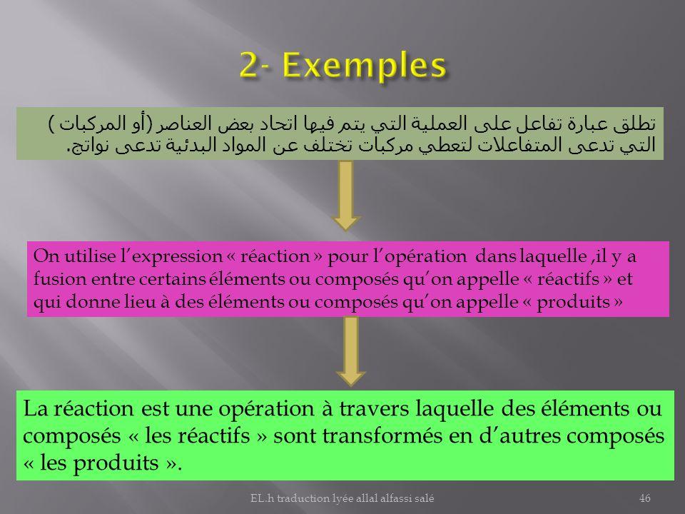 تطلق عبارة تفاعل على العملية التي يتم فيها اتحاد بعض العناصر ( أو المركبات ) التي تدعى المتفاعلات لتعطي مركبات تختلف عن المواد البدئية تدعى نواتج. On
