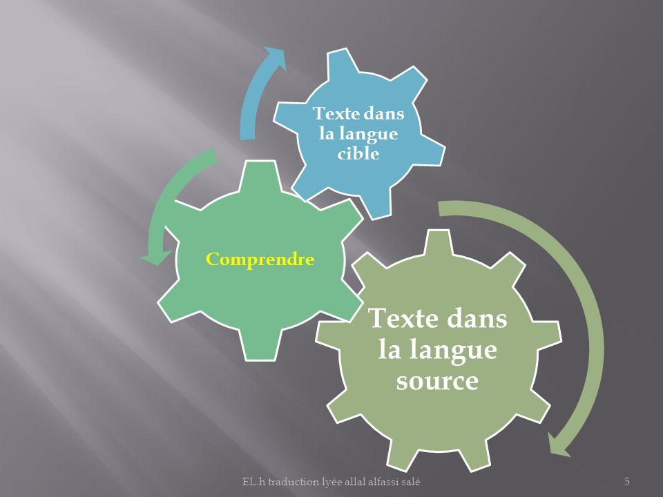 Texte dans la langue source Comprendre Texte dans la langue cible 5EL.h traduction lyée allal alfassi salé