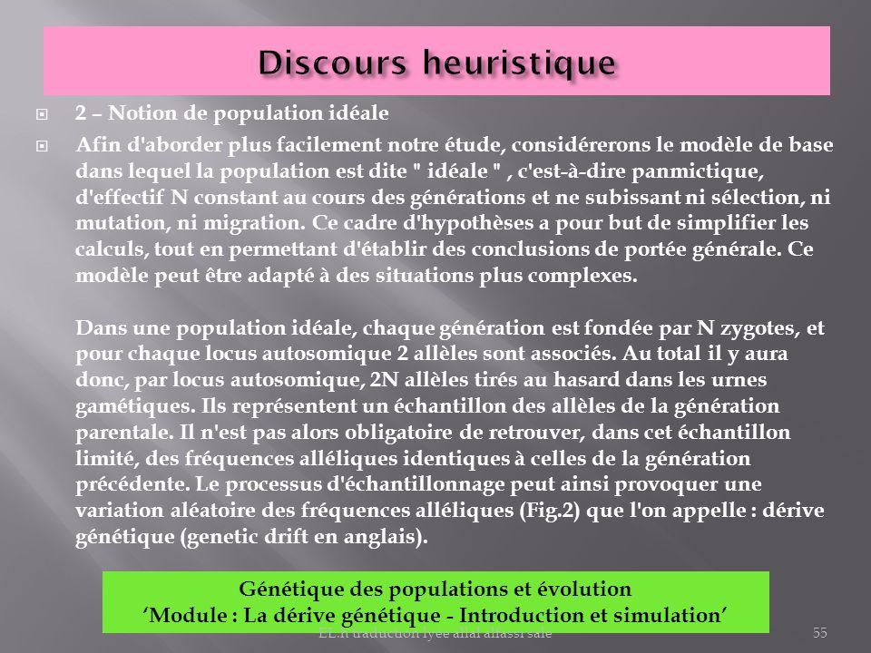 2 – Notion de population idéale Afin d'aborder plus facilement notre étude, considérerons le modèle de base dans lequel la population est dite