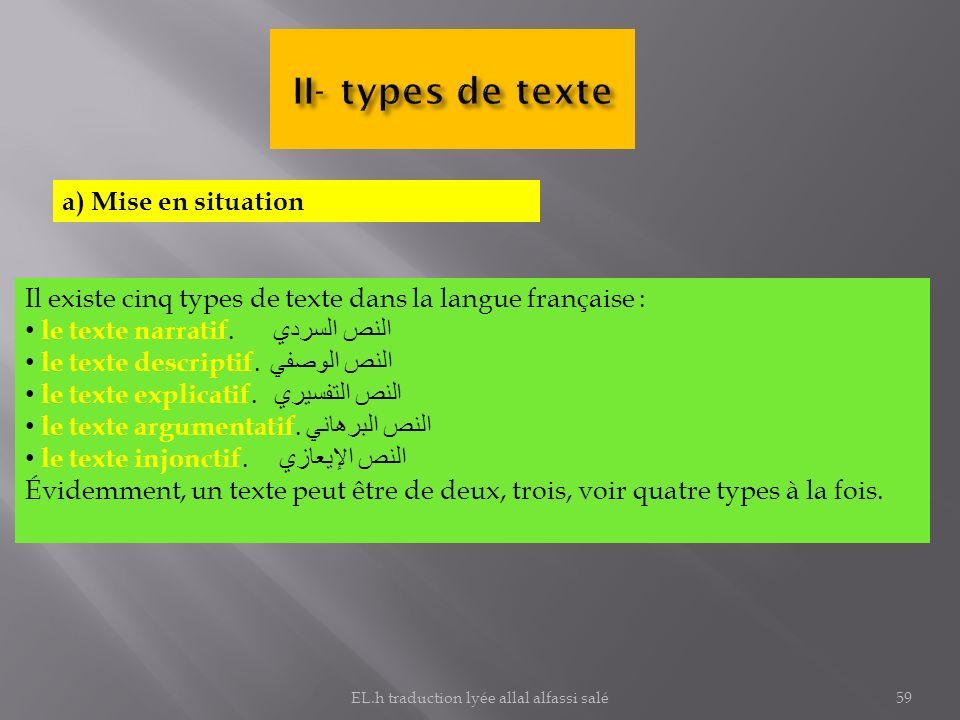 a) Mise en situation Il existe cinq types de texte dans la langue française : le texte narratif. النص السردي le texte descriptif. النص الوصفي le texte