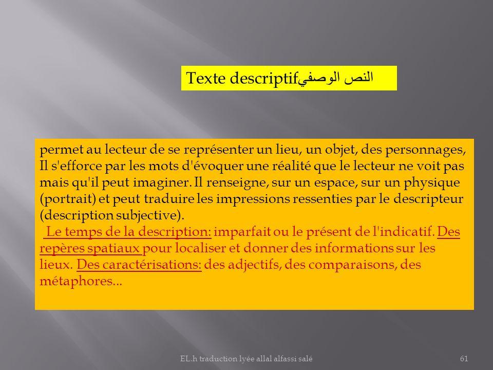 Texte descriptif النص الوصفي permet au lecteur de se représenter un lieu, un objet, des personnages, Il s'efforce par les mots d'évoquer une réalité q