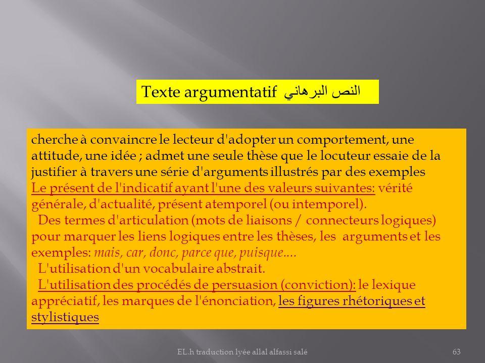 Texte argumentatif النص البرهاني cherche à convaincre le lecteur d'adopter un comportement, une attitude, une idée ; admet une seule thèse que le locu